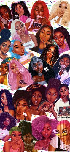 Black Cartoon Characters, Black Girl Cartoon, Cartoon Art, Iphone Wallpaper Tumblr Aesthetic, Black Aesthetic Wallpaper, Black Girl Aesthetic, Black Love Art, Black Girl Art, Art Girl