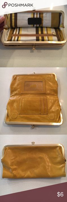 Tasche leather handbag Mustard yellow leather handbag and wallet clutch. Gold hardware and closures. Brown strap. Great used condition. Has a small scuff on front and stain on back as pictured. Lots of life left. tasche Bags Clutches & Wristlets