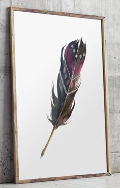 Printable Feather Poster Wall Art Printable by TwoBrushesDesigns