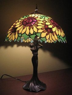 Stained glass lamp sunflowers from Mon Art lamps gllass by DaWanda.com