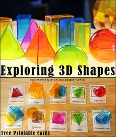 Exploring 3D Shapes - Free printable 3D Cards