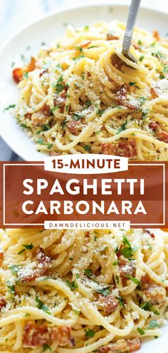 Bacon Pasta Recipes, Pasta Recipes For Kids, Pasta Dinner Recipes, Pasta Dinners, Spaghetti Recipes, Easy Spaghetti Carbonara, Recipes With Bacon Dinner, Homemade Pasta Recipes, Easy Pasta Meals