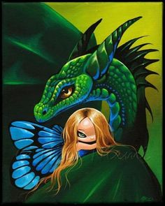 fairy dragon | Art: Fairy's Green Dragon by Artist Nico Niemi