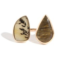 Labradorite And Montana Agate Ring ($1,500) ❤ liked on Polyvore featuring jewelry, rings, agate jewelry, 14 karat gold ring, 14 karat gold jewelry, 14k ring and 14k jewelry