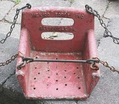 Vintage metal Mexico Forge Inc. PLAYGROUND SWING w/Original Chains Paint