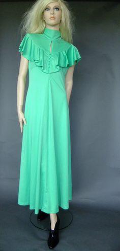 70s vintage maxi dress, kelly green vintage dress, ruffle top, peek a boo neck, aline maxi dress by vintage2049 on Etsy