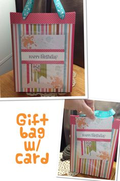 Gift bag w/ matching birthday card. Card slips into a clear cellophane bag attached to the front of gift bag.