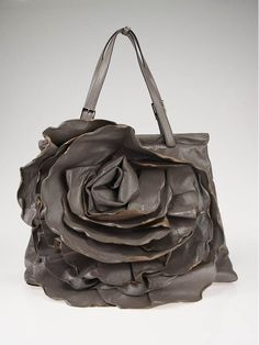 Valentino Garavani Grey Leather Petale Rose XL Frame Top Tote Bag
