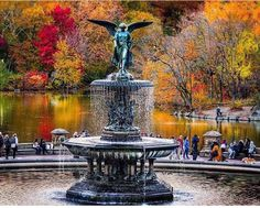 Fall for an angel at Bethesda Fountain in Central Park by Gina Brake @nyc_ph0t0 by newyorkcityfeelings.com - The Best Photos and Videos of New York City including the Statue of Liberty Brooklyn Bridge Central Park Empire State Building Chrysler Building and other popular New York places and attractions.