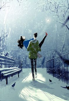 It's actually going to be over degrees here today, so I thought I'd draw a snow day image just in case it might make it happen…. Holding my breath now. is it snowing. Couple Illustration, Digital Illustration, Snow Day Image, Pascal Campion, Couple Art, Illustrations, American Artists, Love Art, Amazing Art
