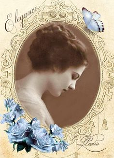 Vintage woman.- blue flowers digital collage p1022  Free to use <3