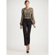 Carolina Herrera Cheetah-Print Silk Chiffon Blouse