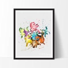 Eevee, Pokemon Watercolor Art Print