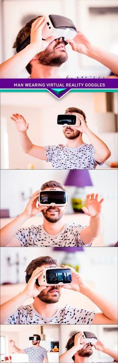Man wearing virtual reality goggles 5x JPEG