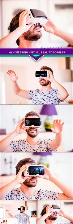 Man wearing virtual reality goggles 5x JPEG
