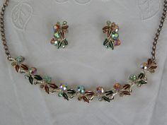 Vintage Necklace & Clip On Earrings Signed PAM circa 1950 Set $25 shipped