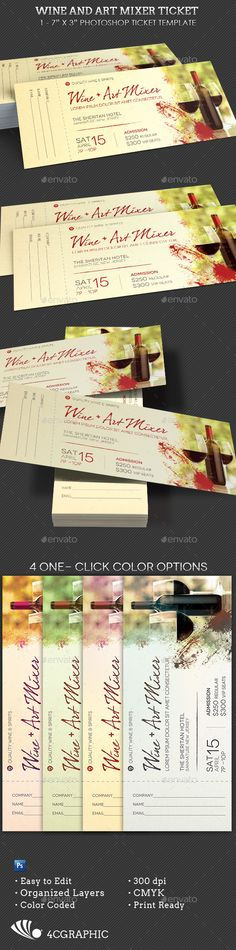 Wine Art Mixer Ticket Template — Photoshop PSD #party #ticket • Available here → https://graphicriver.net/item/wine-art-mixer-ticket-template/16271079?ref=pxcr