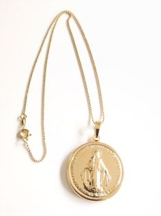 Gold Virgin Mary Pendant Necklace,Tiny Gold Filled Chain, Gold filled Virgin Mary Necklace, Virgen Maria, Catholic Jewelry, Religious Medals