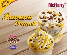It basically looks like a banana cream pie inside of a cup. This is served with banana-flavored syrup drizzled on top, and a sprinkle of crushed Kellogg's Coco Pops, aka the *crunch*.