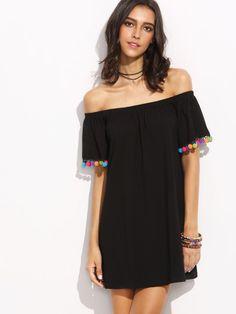 Black Off The Shoulder Pom Pom Trim Cuff Dress