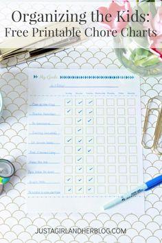 Adorable free printable chore charts to help keep the kiddos organized! | JustAGirlAndHerBlog.com