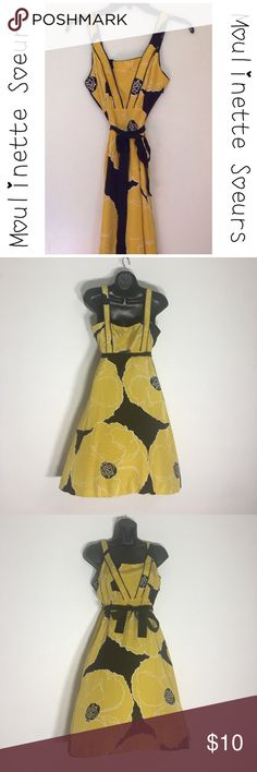 """Silk Yellow Black Season Moulinette Soeurs Dress Final Price - Take Me Home! Moulinette Soeurs by Anthropologie, I believe. Video of dress on my Instagram. I was told this is by Anthropologie; however, not 100%.  Approx measurements: Armpit-to-Armpit: 16"""".  Length: 35"""".  Empire Waist:  13"""".  Above the pockets: 16"""".  Shell/Taffeta Trims: 100% Silk. Lining: 100% Acetate. No stretch.  Side zipper. Dress Name: Brighter Season. Pockets, Gorgeous lining. Pre-owned: Used in Good Condition.  Dry…"""