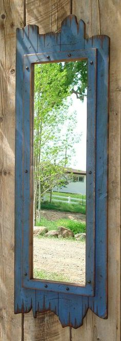 Antique bathroom Mirror - fullLength red barn wood mirror Great for any dressing room, closet, bathroom, entry way, guest bedroom or western home decor. Barn Wood Mirror, Rustic Mirrors, Blue Mirrors, Wall Wood, Wood Walls, Dressing Room Mirror, Closet Mirror, Mirror Bathroom, Bathroom Ideas