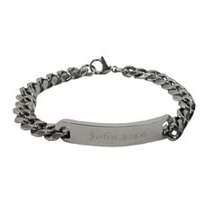 This stainless steel ID style bracelet features John 3:16 on the plate. The sturdy link style bracelet with lobster claw clasp closure is easy to get on and off. This bracelet is perfect for gift giving.