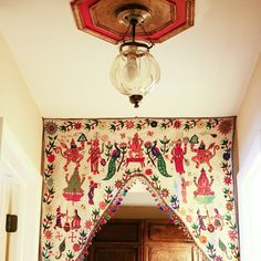 I have two of these (door hangings) in my home, they are on my list of top favorite items in my home. Indian Room, Indian Home Decor, India Decor, Boho Dekor, Indian Interiors, Textiles, Painted Doors, Interior Decorating, Interior Design