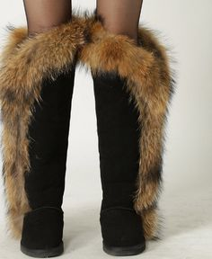 INOE Fashion Style big girls fox fur tall thigh winter snow boots for women winter shoes real leather lady long boots www.essish.com