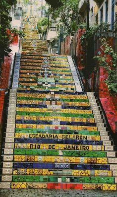 The colourful, tile-wrapped stairway of Santa Tereza at Manuel Carneiro street in Rio de Janeiro, Brazil • architect/artist: Escadaria Selarón • photo: Creative Commons