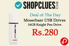 Shopclues #DealofTheDay is offering 49% off on Moserbaer USB Drives 16GB Knight #PenDrive just at Rs.280. Interface USB 2.0 Brand, OS Supported – Windows ME| Windows 2000| Windows XP| Linux kernel 2.4, USB Flash Drive Transfer Speed – Read 12 MBps| Write 5 MBps. Shopclues Coupon Code – SCUPGT19823  http://www.paisebachaoindia.com/moserbaer-usb-drives-16gb-knight-pen-drive-just-at-rs-280-shopclues/