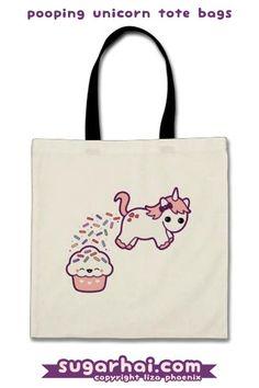 Super cute pooping unicorn tote bag.