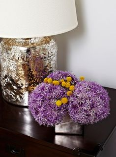 55 Central Park West transitional // purple and yellow florals with silver mercury glass lamp
