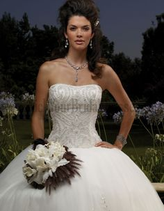 Formal Wedding Dress Ball Gown Beading Appliques Chapel Train Chic