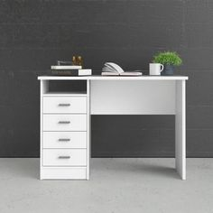 Tvilum 44 in. Rectangular White 4 Drawer Writing Desk with Built-In Storage 8014649 - The Home Depot