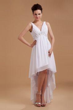 Satin V-Neckline Asymmetrical Column Wedding Dress with Sequins - Alice Bridal