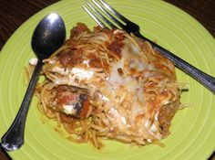 Spaghetti Lasagna bake: Hello leftover spaghetti... meet Lasagna!