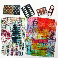 Day 9 of - Packaging Tools for gel printing are all around you! Literally everything that you can… Foam Stamps, Gelli Plate Printing, Gelli Arts, Art Journal Techniques, Plate Art, Encaustic Art, Tampons, Art Journal Inspiration, Gravure