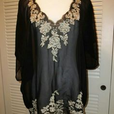"""Flying  Tomato  Black Embroidered  Boho Top Semi sheer black with tan embroidered  rose design. Size  tag cut out. ARMPIT-ARMPIT  & Length  26"""" Flying  Tomato  Tops Tunics"""