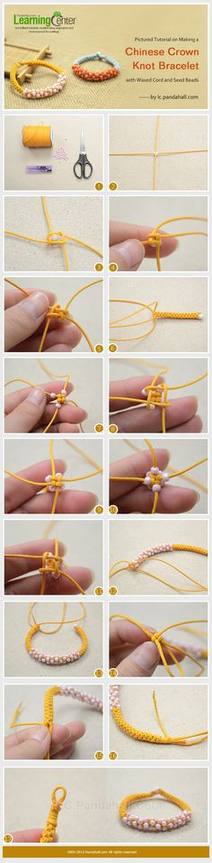 Pictured Tutorial on Making a Chinese Crown Knot Bracelet with Waxed Cord and Seed Beads - classic scoubidou knot