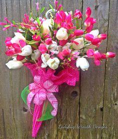 Spring Umbrella Wreath, Summer Umbrella Wreath, Tulip Wreath, Easter Wreath, Everyday Wreath by LadybugWreathDesigns on Etsy Umbrella Wreath, Umbrella Decorations, Umbrella Art, Umbrella Crafts, White Umbrella, Spring Wreaths For Front Door Diy, Summer Wreath, Door Wreaths, Tulip Wreath