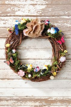 We have everything you need to feather your nest with a world of sweet, handmade decor, just like this nature-filled grapevine wreath! Diy Crafts For Home Decor, Crafts To Do, Arts And Crafts, Diy Wreath, Grapevine Wreath, Wreath Ideas, Burlap Wreath, Easter Wreaths, Spring Wreaths