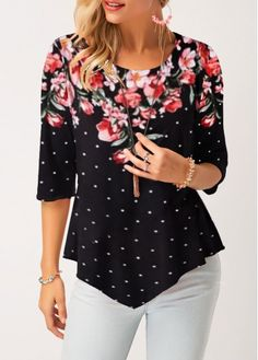 Stylish Tops For Girls, Trendy Tops, Trendy Fashion Tops, Trendy Tops For WomenPolka Dot Print Black Asymmetric Hem T ShirtCheap womens trendy tops Tops online for sale Woman Clothing, Trendy Tops For Women, Polka Dot Print, Look Cool, Blouse Designs, Couture, Fashion Outfits, Girl Fashion, Trendy Outfits