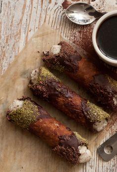 Ricotta, Pistachio and Chocolate Cannoli.
