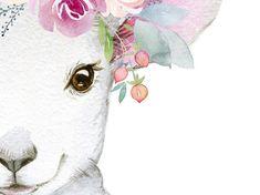 Set of 4 Flower Farm Animal Prints Goat Sheep Cow Pig Farmhouse Baby Animal Nursery Wall Decor, Printable animal art for girls nursery Baby Animal Nursery, Girl Nursery, Lamb Nursery, Nursery Decor, Nursery Prints, Girl Room, Animal Paintings, Animal Drawings, Watercolor Animals
