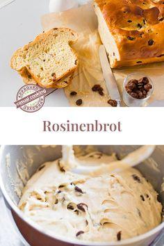 Rosinenbrot kommt immer gut an! Egal ob zum Frühstück oder zum Kaffee & Kuchen Nachmittag. Pur, mit Butter bestrichen oder auch mit Honig/Marmelade verfeinert – ist es ein beliebter, fluffiger Snack. Es ist lange haltbar und schmeckt getoastet auch nach ein paar Tagen noch wunderbar. Camembert Cheese, Dairy, Butter, Food, Sweet Desserts, Marmalade, Honey, Essen, Meals