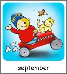 September | Pompom maanden Pre School, Princess Peach, September, Prints, Pom Poms