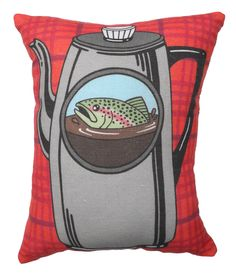 Fish in the Percolator Pillow  Twin Peaks Tribute by BettyTurbo