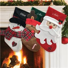 Get festive this holiday season with our plaid scarf and Santa embroidered Christmas Stockings, personalized just for you with your choice of a snowman, reindeer or Santa. Fabric Christmas Ornaments, Christmas Sewing, Christmas Projects, Christmas Decorations, Holiday Decor, Christmas Cartoons, Christmas Characters, Christmas History, Christmas Time